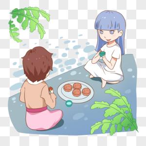 坐着喝茶吃月饼的女孩图片