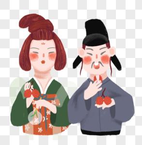 大暑传统习俗古代人物吃荔枝图片