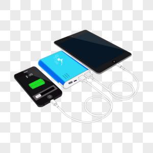 卡通手绘IPAD手机蓝色充电宝图片