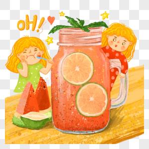 果茶西瓜汁夏日冷饮人物卡通元素图片