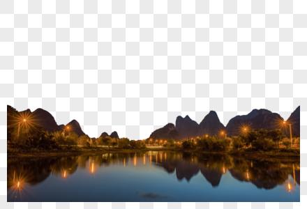 夜色山川图片