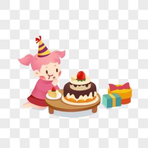 坐着吃蛋糕的女孩图片