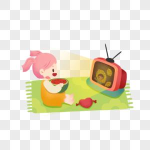 看电视吃瓜的女孩图片
