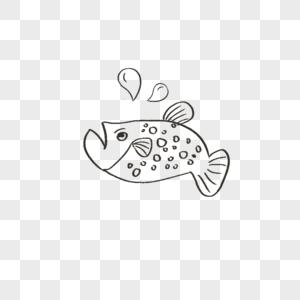手绘鱼线稿贴图图片