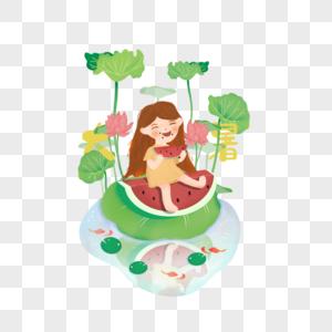 坐在荷叶上吃西瓜的女孩图片