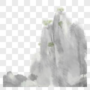 水墨山插画图片