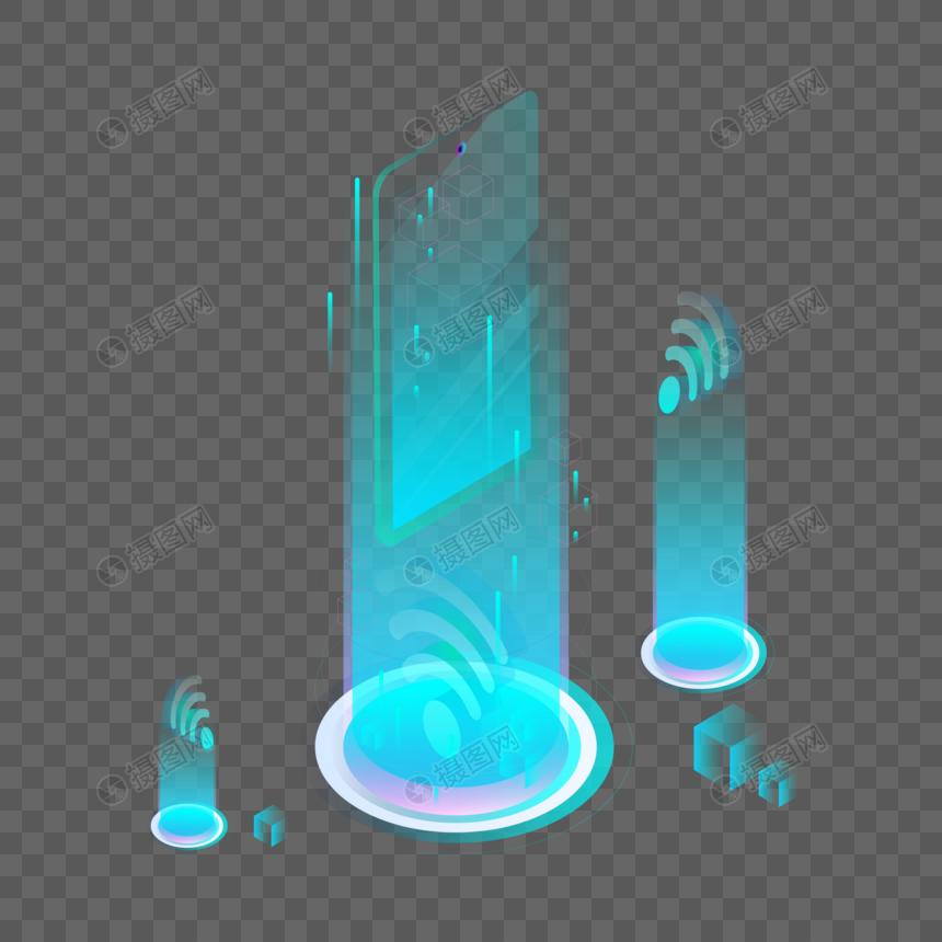 2.5D蓝色手机投影图片