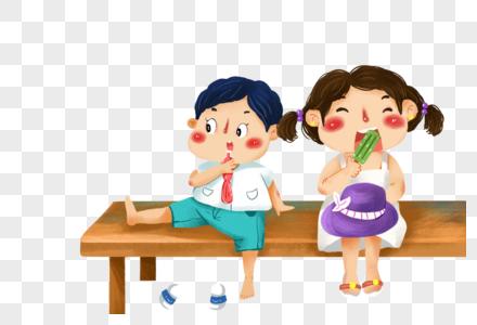 坐着吃雪糕的孩子图片