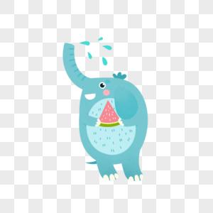 吃瓜的大象图片