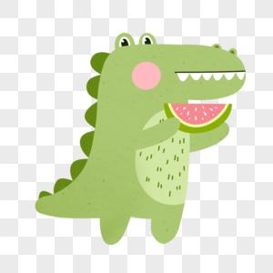 吃西瓜的鳄鱼图片