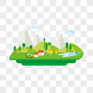生态卡通建筑矢量图片