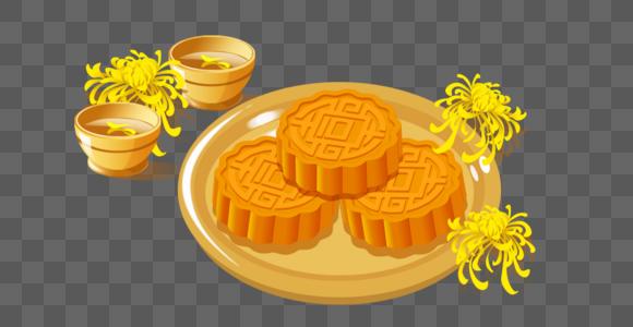 菊花茶和月饼图片