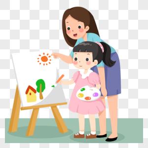手绘卡通上美术辅导班的小女孩图片