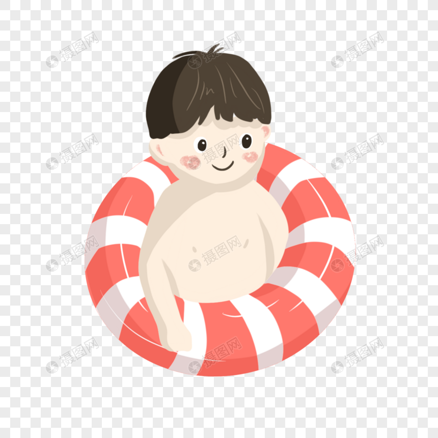 卡通男孩泳圈图片