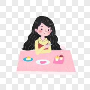吃饭前拍照的女孩图片