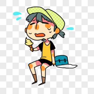 吃冰淇淋的男孩图片