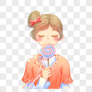 拿着棒棒糖的女孩图片