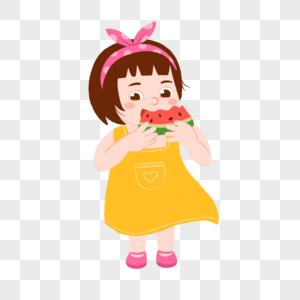 夏天小女孩吃西瓜插画素材图片