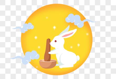 手绘卡通中秋兔子捣药图片