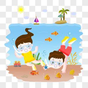 夏日儿童海底潜水图片