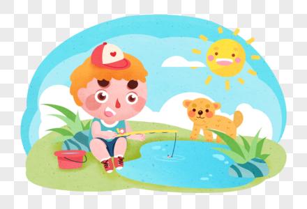 儿童钓鱼场景图片