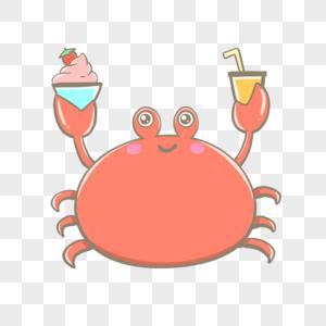 夏天吃冷饮的螃蟹图片