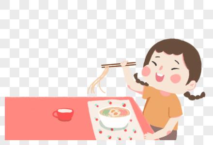 吃面的女孩图片