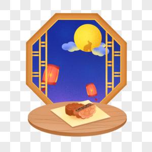 中秋节窗外的满月图片