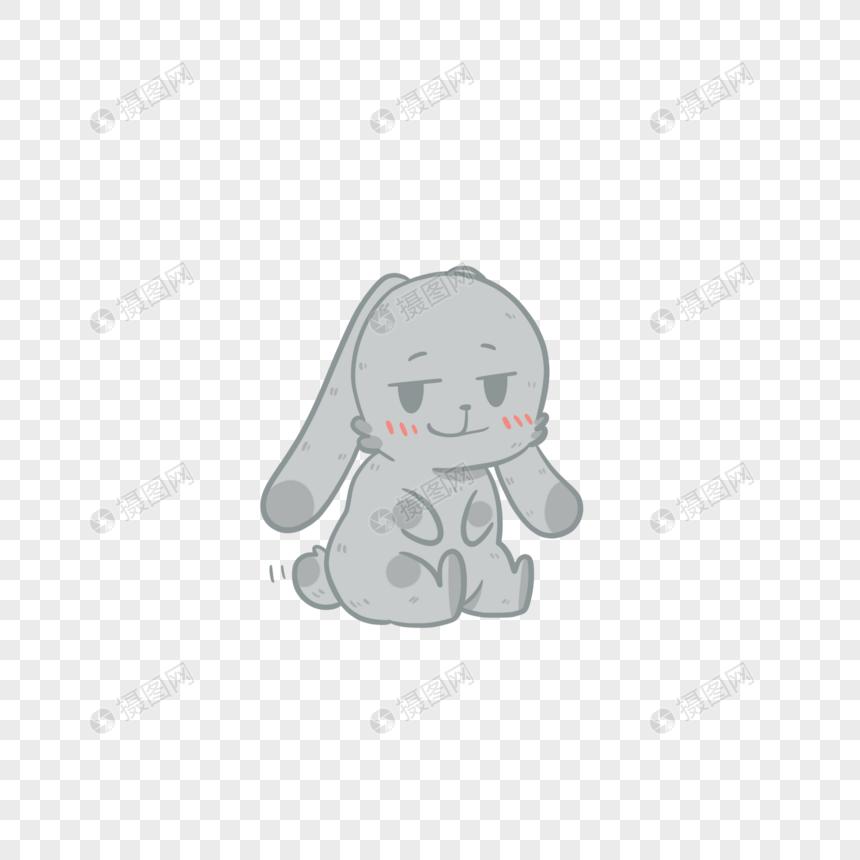 小灰兔坏笑可爱表情素材表情psd格式_v表情眼猫元素包大图片