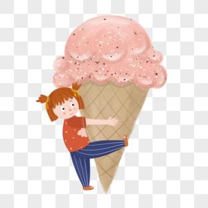 夏天女孩抱雪糕图片