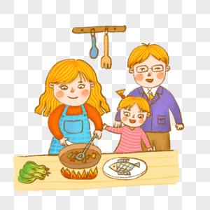 做饭下厨厨房一家三口烹饪吃饭手绘可爱插画图片