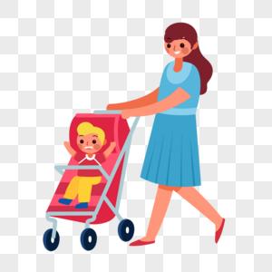 推婴儿车图片