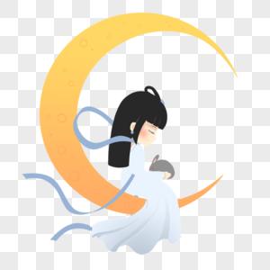 嫦娥抱着玉兔坐在月亮上图片