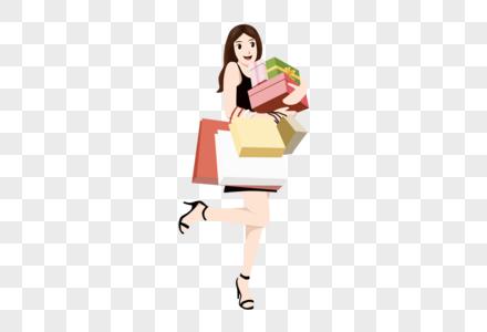 卡通美女开心购物免抠元素图片