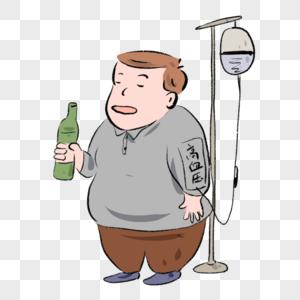 手绘卡通漫画男生高血压犯者图片