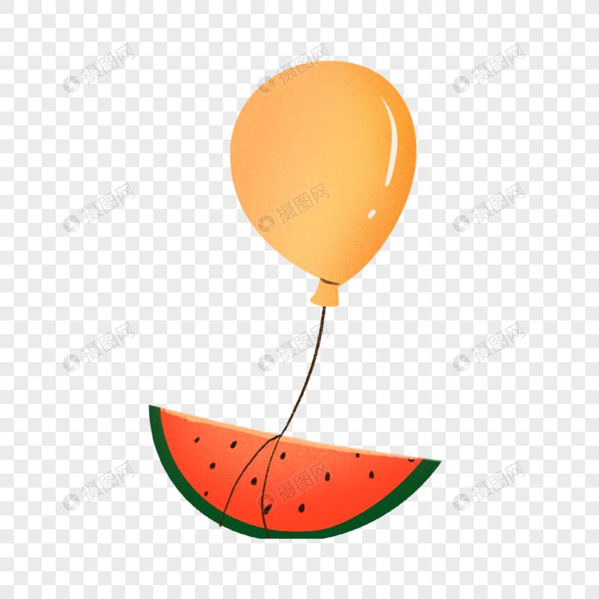 绑着气球的西瓜图片