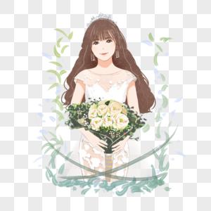 手绘女士婚纱图片