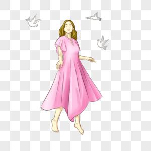 与白鸽共舞的女孩图片