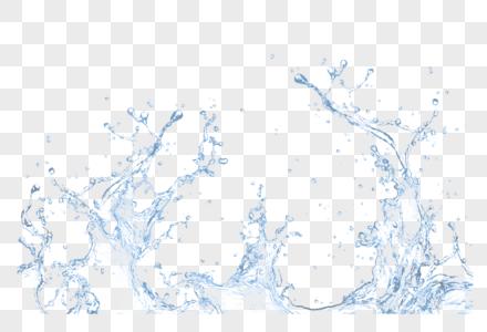 蓝色清新水花效果元素图片