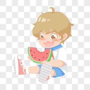 吃西瓜的男孩子图片
