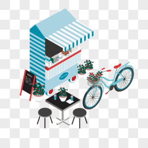 立体建筑餐吧车元素图片
