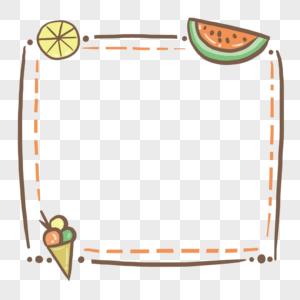 手绘夏天清新西瓜冰淇淋柠檬边框图片