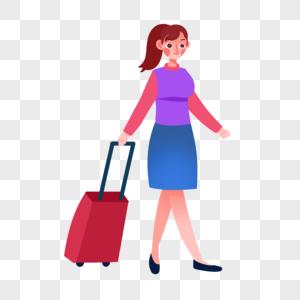 拖行李女孩图片