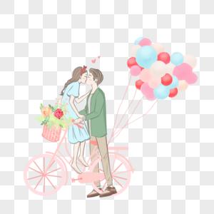 自行车上亲吻的情侣图片