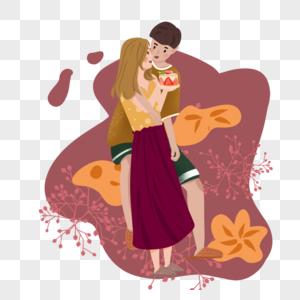一起吃蛋糕的小情侣图片