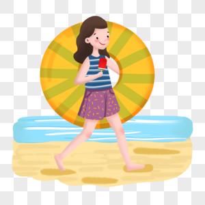 大暑节气游泳吃冰棒图片