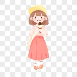 夏季吃冰淇淋的女孩图片