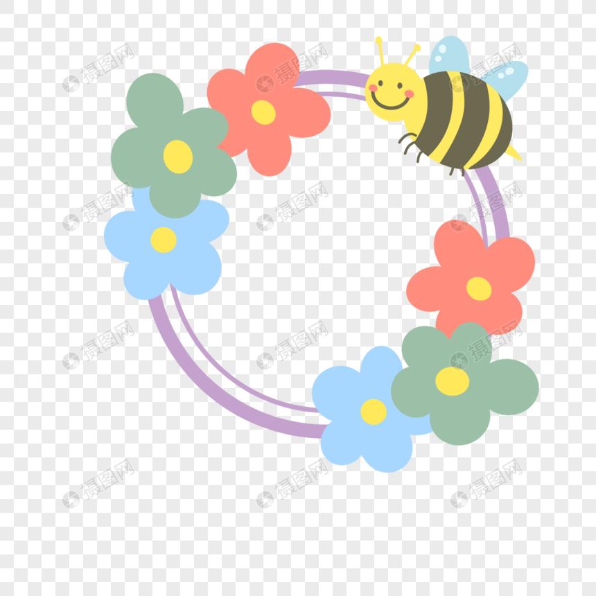 卡通手绘春天花卉蜜蜂ins风边框图片