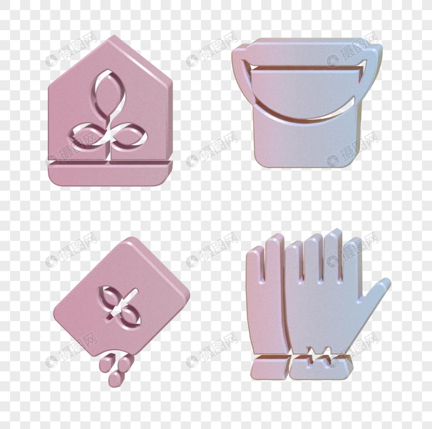 C4D手套水桶图标图片