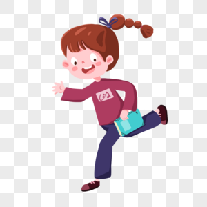 卡通拿着书跑步的女孩图片